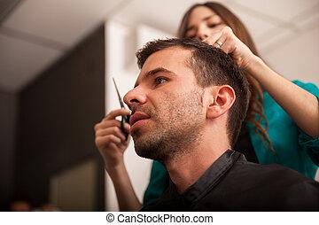 loja, barbeiro, visitando