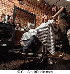 loja, barbudo, barbeiro, homem