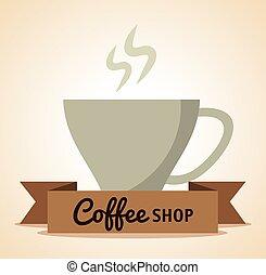 loja, bebida café, quentes, copo