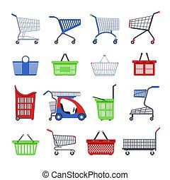 loja, bonde, diferente, jogo, shopping, apartamento, carros, ícones, isolado, supermercado, vetorial, cestas, ou, tipos