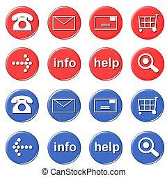 loja, botões, -, online