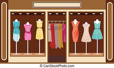 loja, boutique., roupa, mulheres