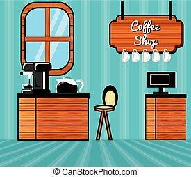 loja, café, cena, restaurante