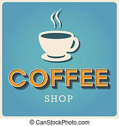 loja, café, fonte, tipo, retro