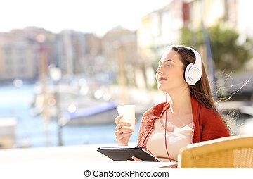 loja, café, relaxante, férias, escutar música, menina