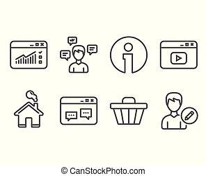 loja, carreta, conversação, mensagens, e, teia, tráfego, icons., browser, janela, vídeo, conteúdo, e, editar, pessoa, signs.