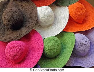 loja, chapéus verão, janela, coloridos