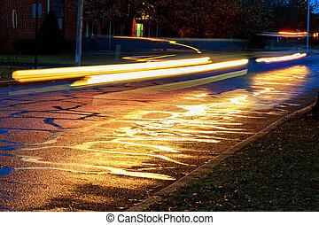 loja, cidade, luz, janelas, carros, refletido, Viagem, chuvada torrencial, grande, noturna, estrada