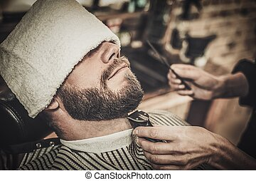 loja, cliente, barbeiro, durante, aparência, bigode, barba