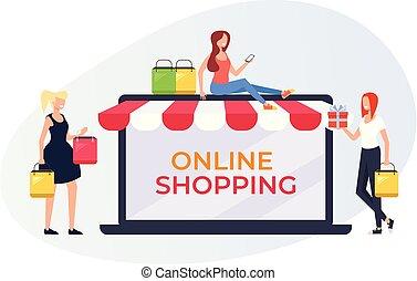 loja, compras, desenho, sorrindo, teia, concept., personagem, online, feliz, apartamento, shopping mulher, cartaz, internet, ilustração, store., bandeira, caricatura, gráfico, vetorial, fazer, página
