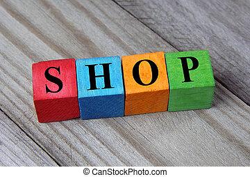 loja, conceito, palavra, coloridos, madeira, cubos