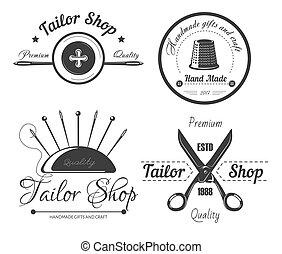 loja, costureira, moda, atelier, costurando, desenhista, alfaiate, logotipo, vestido, salon.