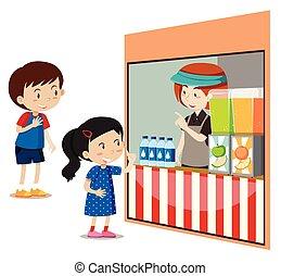 loja, crianças, comprando, bebidas