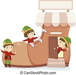 loja, crianças, stickman, duende, ilustração, sapato