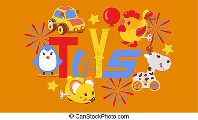 loja, cute, gifts., clockwork, luminoso, brinquedos, crianças, rato, bandeira, pingüim, galo, folheto, tal, giraffe., balloon., animais, illustration., windup, car, vetorial, mecânico, mecânico