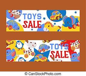 loja, cute, jogo, brinquedos, clockwork, luminoso, gifts., horse., pingüim, crianças, tartaruga, galo, vaca, elefante, tal, animais, illustration., windup, venda, vetorial, mecânico, mecânico, bandeiras
