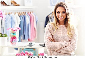 loja, dela, boutique, gerente, frente, sorrindo