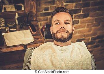 loja, elegante, barbeiro, homem