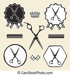 loja, emblema, vindima, símbolo, cobrança, etiqueta, barbeiro, tesouras