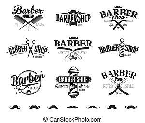 loja, emblemas, barbeiro, tipográfico