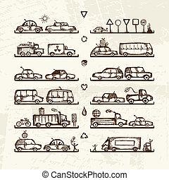 loja, esboço, jogo, prateleiras, carros, sinais tráfego, desenho, seu