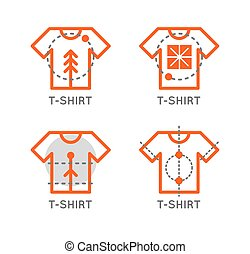 loja, esboço, logo., set., t-shirt, online, logotipo, icon., loja roupa, design.
