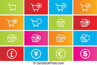 loja, estilo, online, metro, ícones