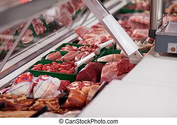 loja, exibido, carne, açougueiro