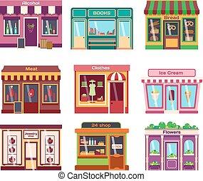 loja,  façade, vetorial, Ilustração