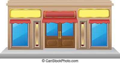 loja, fachada, com, um, mostruário, vetorial