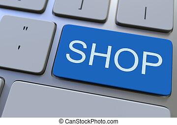 loja, fazendo, key., teclado, conceitual, 3d