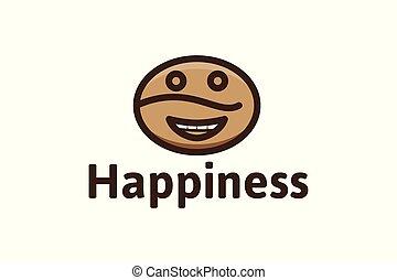 loja, feijão café, projetos, isolado, fundo, logotipo, branca, feliz, emoticon, inspiração