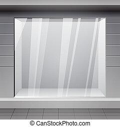 loja, front., exterior, horizontais, janelas, vazio