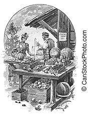 loja, frutas, filho, dela, mercado, senhora