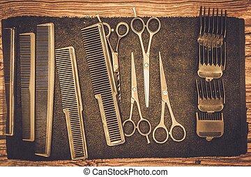 loja, hairstylist's, barbeiro, acessórios