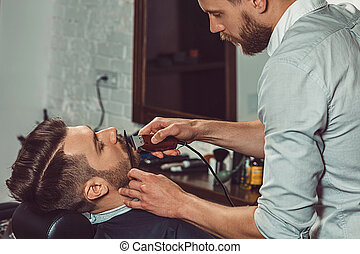 loja, hipster, cliente, barbeiro, visitando