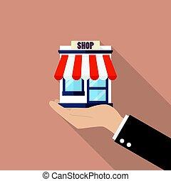 loja, homem negócios, loja, segurando mão