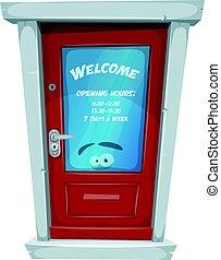 loja, horas, entrada, porta, abertura