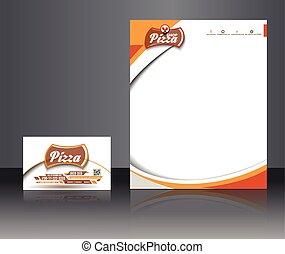 loja, identidade, incorporado, pizza