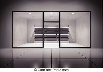 loja, interior, com, prateleiras