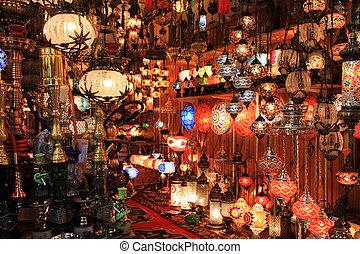 loja, istambul, turco, lâmpadas, bazaar grande
