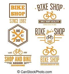 loja, jogo, bicicleta, vindima, etiquetas, modernos, logotipo, ou, emblemas
