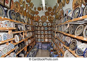 loja, lembrança, tradicional, grego, vasos, cerâmica