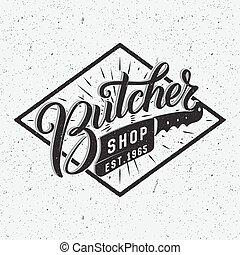 loja, logotype., açougueiro