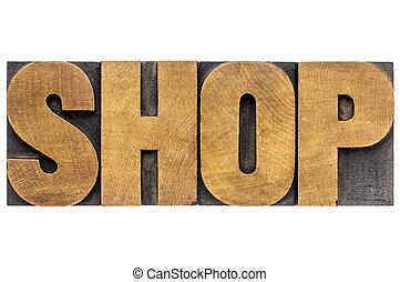 loja, madeira palavra, tipo