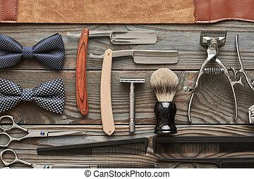 loja, madeira, vindima, barbeiro, fundo, ferramentas
