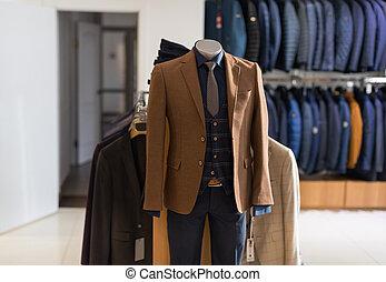 loja, moda, desgaste, formal, macho, mannequin