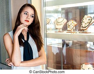 loja, mulher, jóia, escolher, jovem