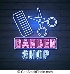 loja, néon, design., vetorial, barbeiro, logotipo, sinal, seu