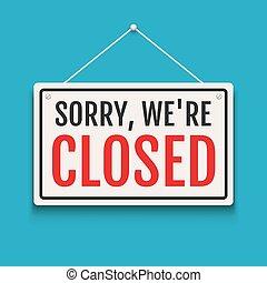 loja, nós, porta, fechado, negócio, store., abertos, isolado, sinal, fundo, tempo, fim, arrependido, bandeira, ou, retail.